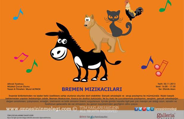 """""""Bremen Mızıkacıları"""" çocuk oyunu Galleria Çocuk Sahnesi'nde"""