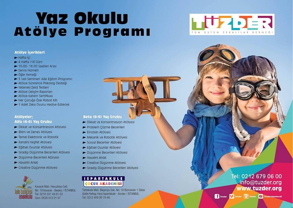 Üstün Zekalılar Derneği – TÜZDER Yaz Okulu Atölye Programı Başlıyor. . .