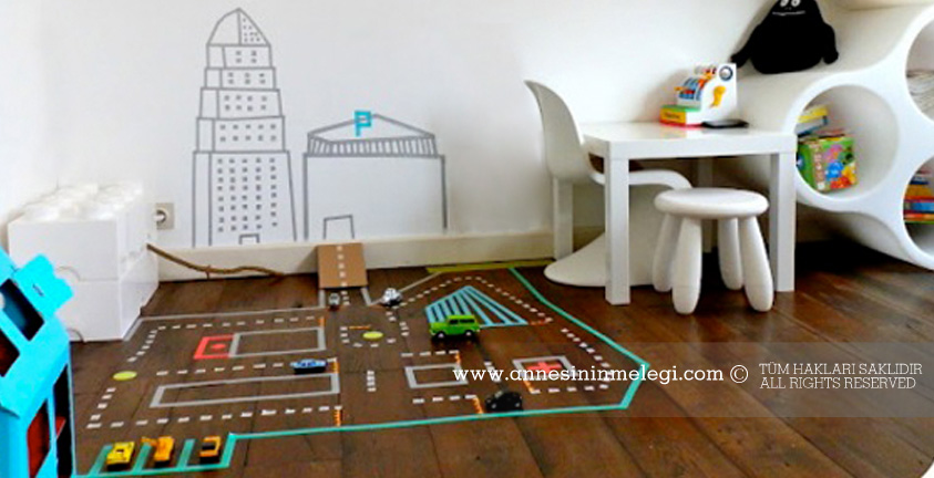 evde çocuk oyunları seloteyple otoyollar, otoparklar yaparak çocuklarınıza evde hoşça vakit geçirebiilirler