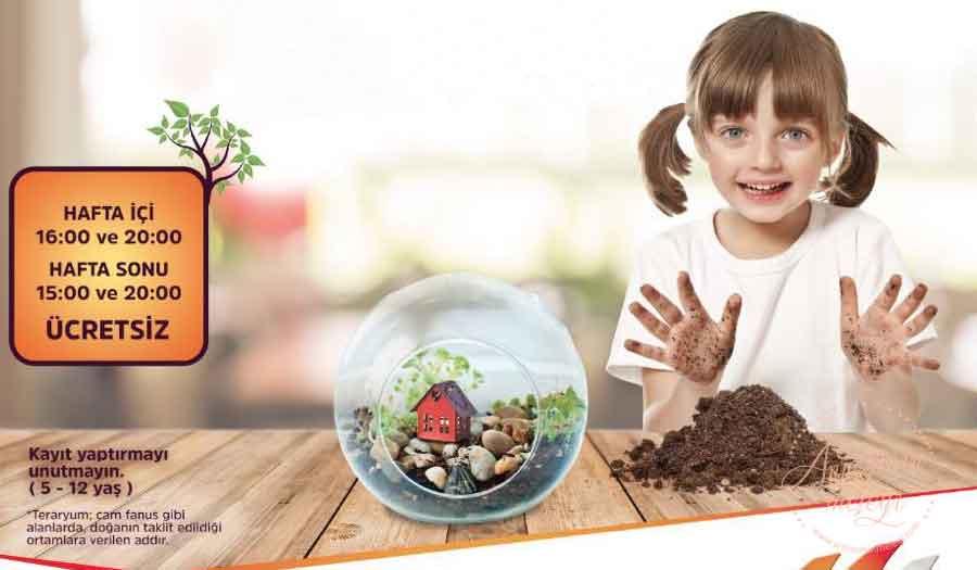 17 Eylül'e kadar M1 Adana AVM'de gerçekleştirilecek olan Teraryum Atölyesi doğasever çocukları bekliyor. Teraryum Atölyeleri,m1 adana,çocuklara ücretsiz ,minik bahçe,Cam fanus,M1 Adana AVM adana etkinlik çocuk etkinlikleri adanada çocuk etkinlikleri ÜCRETSİZ ETKİNLİK