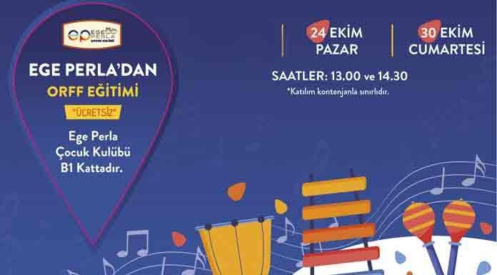Ege Perla'dan Miniklere Orff Eğitimi konuşma, müzik ve dansın bir arada kullanımıyla uygulanan Orff Eğitimi; 24 Ekim ve 30 Ekim'de Mozart PSM eğitmenleri eşliğinde Ege Perla Çocuk Kulübü'nde gerçekleşecek